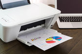 Printer and Laptop on wood table — Stock Photo