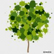 Abstract tree with green leaves on white background. — Stock Vector #51576087