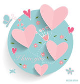 Cute card with heart and floral bouquets, vector illustration. — Stock Vector