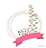 Cute card with ribbon and floral bouquets, vector illustration. — Stock Vector
