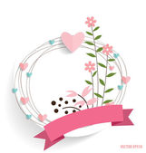 Cute card with ribbon, heart and floral bouquets, vector illustr — Stockvektor
