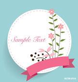 Tarjeta linda con la cinta y ramos de flores, ilustración vectorial. — Vector de stock