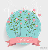 Floral bouquets with ribbon, vector illustration. — Cтоковый вектор