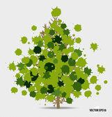 Árvore abstrata com folhas verdes sobre fundo branco. — Vetor de Stock