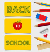Welcome back to school. Cute note papers, vector illustration. — Stock Vector