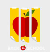 Cute note papers with red apple, welcome back to school. Vector  — Stockvektor