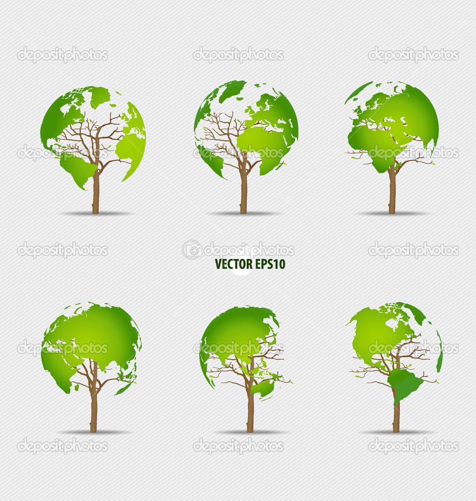 树的形状的世界地图.矢量插画