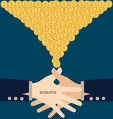 Handshake with Money. Modern Flat design vector illustration con — Stock Vector