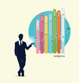 Businessman showing graph. Vector illustration. — Stock Vector