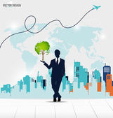 Businessman showing Tree shaped world map with building backgrou — Stock vektor