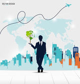 Businessman showing Tree shaped world map with building backgrou — Vector de stock