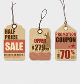 Price tag, sale coupon, voucher. Vintage Style template Design v — Stock vektor
