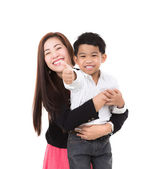 Portrait of happy boy with mother — Stock Photo