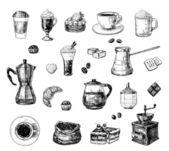 кофейный сервиз — Cтоковый вектор