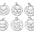 Stock Vector: 6 Halloween pumpkins