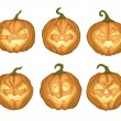 6 Halloween pumpkins — Stock Vector