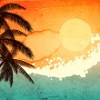 Tropical sunset — Imagen vectorial