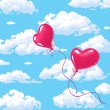 Two heart shaped red ballons — Imagen vectorial