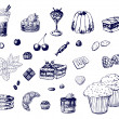 Hand-drawn desserts — Stock Vector