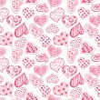 Pattern with red hearts — Imagen vectorial