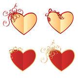 Coeur en forme de cartes ornées de boucles — Vecteur