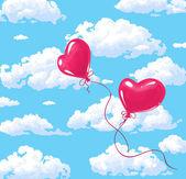 En forma de corazón dos globos rojos — Vector de stock