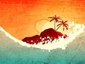 Tropical sea and island — Stock Vector