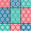 9 snowflakes patterns — Stock Vector