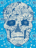 Floral schedel — Stockvector