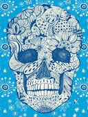 Cráneo floral — Vector de stock