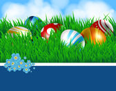 Easter eggs and ribbon — Vector de stock