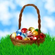 Basket with Easter eggs — Stock Vector
