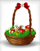 Basket with Easter eggs — Vector de stock