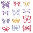 Set of 12 paper butterflies — Stock Vector
