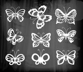 Set of 9 butterflies — Stock Vector