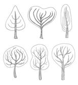 Set of six hand - drawn trees  — Stock Vector
