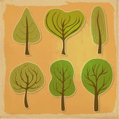 Set of six trees  — Stock Vector