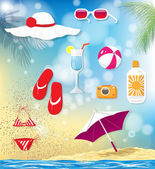 Summer vacation related objects — Stock Vector