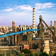 Landscape of construction power factories with big chimneys and — Stock Photo #17653319