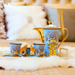 Royalty-Free Stock Photo: Closeup photo of Chinese beverage suite on wedding bed to celebr