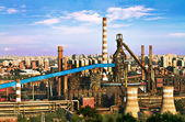 Landscape of construction power factories with big chimneys and — Stock Photo