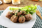 Meatballs stewed with vegetables — Stock Photo