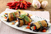 Eggplant rolls with cheese, tomato and basil — Photo