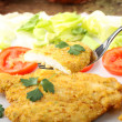 Chicken cutlet with salad - Stock Photo