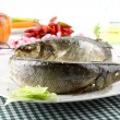 Sea Bass with olive oil and lemon — Stockfoto