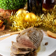 Roast beef with gravy — Stock Photo