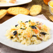 Pasta with smoked salmon and caviar - Stock Photo