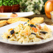 Pasta with smoked salmon and caviar — Stock Photo