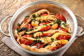 Pan with shrimp and tomatoes — Stock Photo