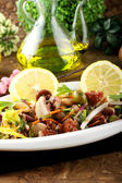 Octopus salad with vegetables and beans — Stock Photo